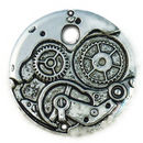 Clockwork Watch Movement Pendant in Silver Pewter
