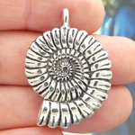 Nautilus Shell Charms Wholesale in Antique Silver Pewter