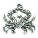 Detailed Crab Charm in Antique Silver Pewter