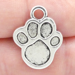 Paw Print Charm in Antique Silver Pewter