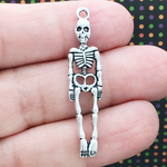 Skeleton Halloween Charm in Antique Silver Pewter