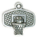 Backboard Basketball Charm in Antique Silver Pewter