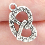 Pretzel Charm in Antique Silver Pewter