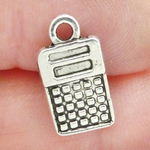 Calculator Charms Bulk in Antique Silver Pewter