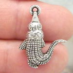 Small Alligator Charm in Antique Silver Pewter