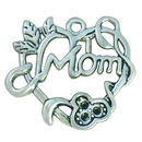 Filigree Heart Mom Charm Antique Silver Pewter