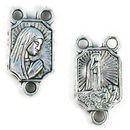 Virgin Mary Rosary Center Charm in Antique Silver Pewter