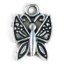 Ornate Small Butterfly Charm Antique Silver Pewter Small