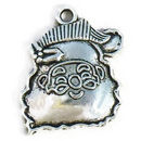 Santa Claus Head Christmas Charm in Antique Silver Pewter