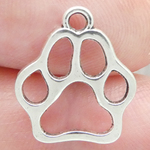 Outline Paw Print Charm in Antique Silver Pewter