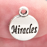 Word Miracles Charm in Antique Silver Pewter