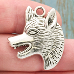 Wolf Head Charm Silver Pewter