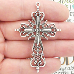 Filigree Cross Pendants Wholesale in Antique Silver Pewter Large