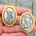 Archangel Michael and Guardian Angel Pendant in Silver and Gold Pewter Large