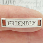 Friendly Word Bracelet Connectors in Silver Pewter
