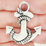 Silver Anchor Charms Wholesale in Pewter Large