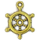 Wheel of Ship Charm in Gold Pewter Nautical Small