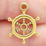 Ship Wheel Charm Bulk in Gold Pewter Small