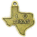 I Love Texas Charm in Antique Gold Pewter