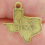 I Love Texas Charms Bulk in Antique Gold Pewter