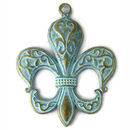 Large Fleur de Lis Pendant in Antique Gold and Oxidized Blue Pewter