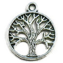 Tree of Life Circle Charm Pendant in Silver Pewter Medium