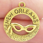 New Orleans Charm in Gold Pewter with Mask Medium