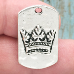 Crown Pendants Bulk Dog Tag Style in Antique Silver Pewter