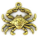 Detailed Crab Charm in Antique Gold Pewter Small