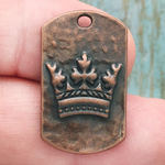 Crown Pendant Dog Tag in Antique Copper Pewter Medium