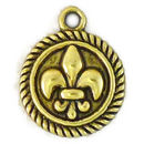 Fleur De Lis Rope Charm with Edge Disk in Antique Gold Pewter