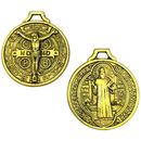 St Benedict Medal Pendant with Crucifix in Gold Pewter