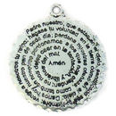 Spanish Disk Prayer Pendant in Antique Silver Pewter Large