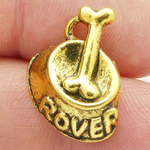 Dog Bowl Charm with Bone in Antique Gold Pewter