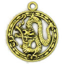 Dragon Charm Pendant Disk in Antique Gold Pewter Medium