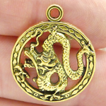 Bulk Dragon Charms in Antique Gold Pewter