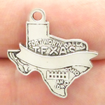 Texas Charm with Ribbon in Antique Silver Pewter
