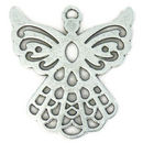 Flat Outlined Silver Angel Charm in Pewter