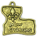 Louisiana Charm in Antique Gold Pewter with Fleur De Lis and New Orleans