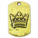 Crown Pendant Dog Tag in Antique Gold Pewter Medium