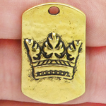 Dog Tag Crown Pendant in Gold Pewter