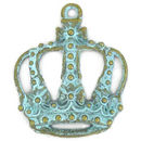 Gold King Crown Charm in Oxidized Turquoise Pewter