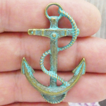 Anchor Pendants Bulk in Gold Oxidized Turquoise Pewter