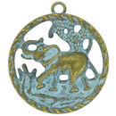 Good Luck Elephant Pendant in Antique Brass Turquoise Oxidized Pewter Large