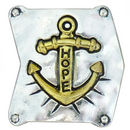 Gold Hope Anchor Charm for Bead Stringing Bracelet Sliders in Silver Pewter
