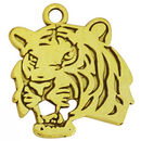 Tiger Charm Head in Antique Gold Pewter