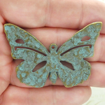 Cut Out Butterfly Pendant Gold in Turquoise Antique Pewter