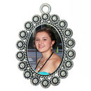 Rope and Bead Oval Photo Charm in Antique Silver Pewter Picture Charm Large