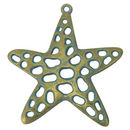 Starfish Open Cut Pendant in Antique Gold and Oxidized Turquoise Pewter Large