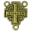 Jerusalem Cross Rosary Center in Antique Gold Pewter